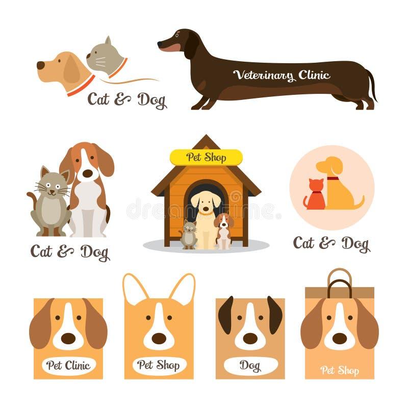 Koty, psa symbol & logo i ilustracji