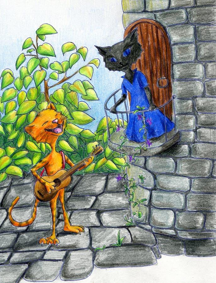koty romantyczni ilustracja wektor