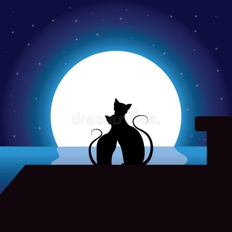 Koty Romantyczni pod blaskiem księżyca, Wektorowe ilustracje ilustracji