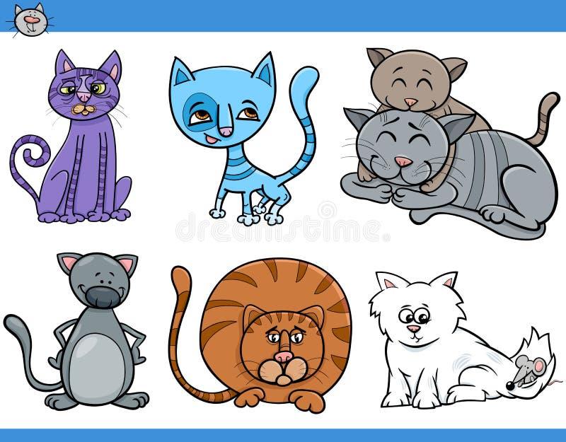 Koty ustawiają kreskówki ilustrację ilustracja wektor