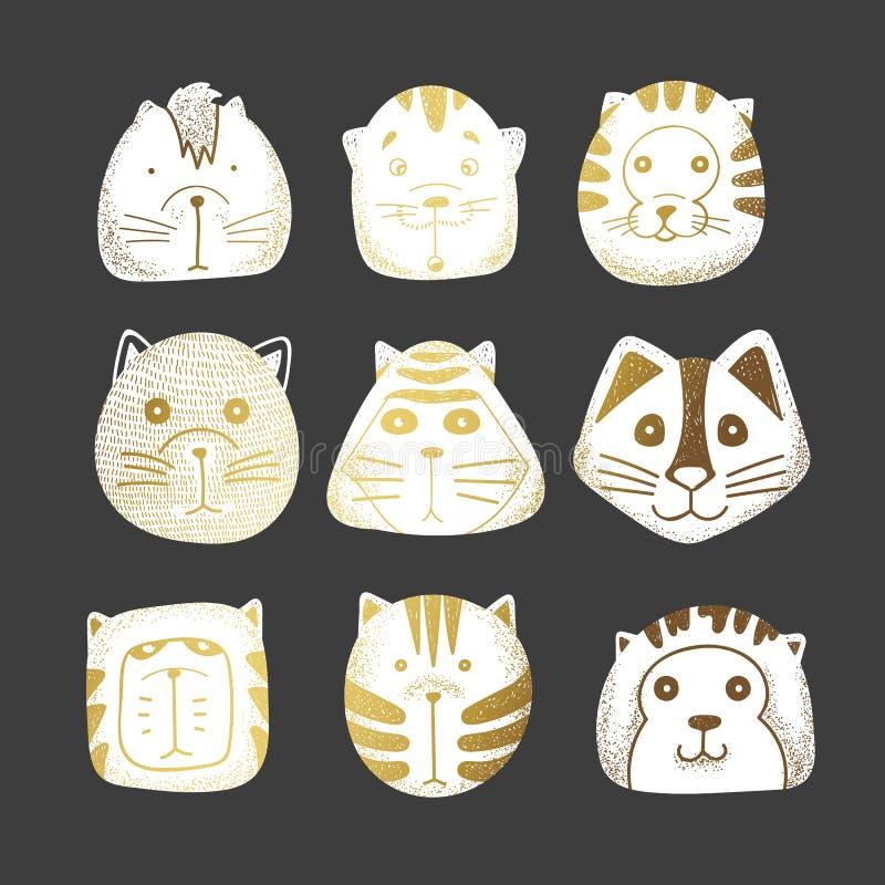 Koty ustawiający śliczny doodle ilustracja wektor