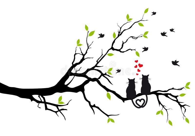 Koty w miłości na drzewie, wektor ilustracji