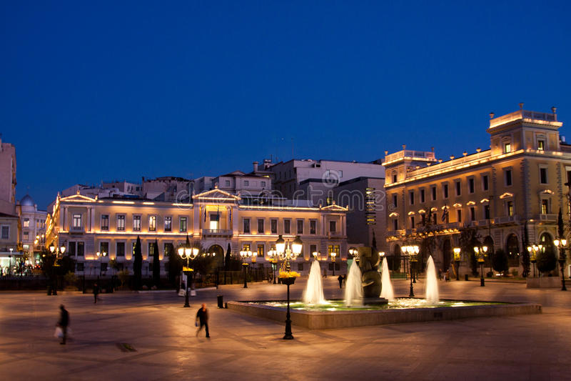 Kotzia Square And Athens Cityhall Royalty Free Stock Photos