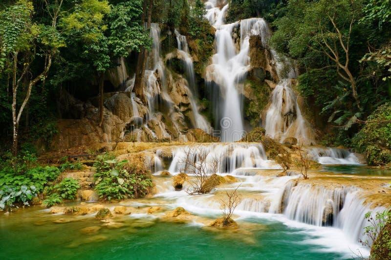 Kouang Si瀑布在老挝 库存图片