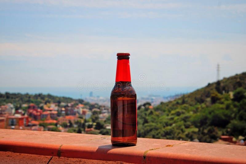 Koud bier met de erachter stad royalty-vrije stock afbeeldingen