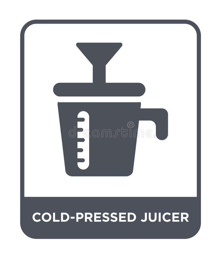 koud geperst juicerpictogram in in ontwerpstijl koud geperst die juicerpictogram op witte achtergrond wordt geïsoleerd koud geper stock illustratie