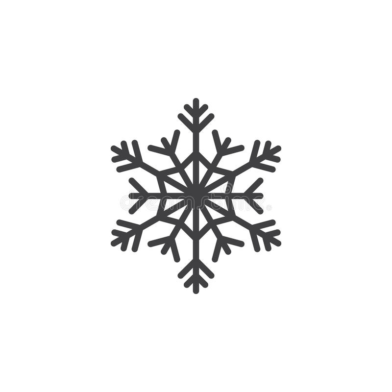 Koud symbool, het pictogram van de Sneeuwvloklijn, overzichts vectorteken, lineair pi stock illustratie