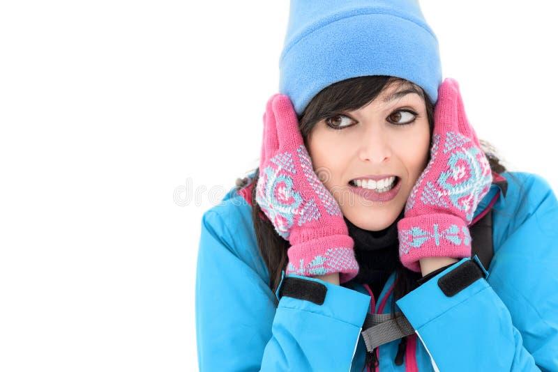 Koud vrouwelijk wandelaargezicht stock afbeelding