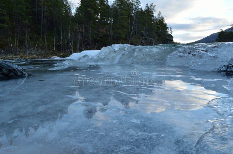 Koude bevroren bergkreek royalty-vrije stock afbeeldingen
