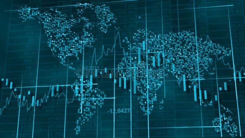 Koude blauwe hi-tech achtergrond - voorraaddiagrammen, grafieken en lijsten stock illustratie