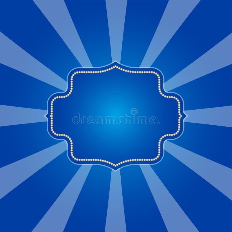 Koude blauwe stralenachtergrond in retro ontwerp royalty-vrije illustratie