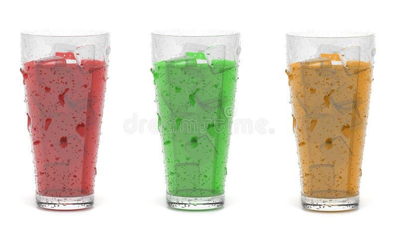 Koude cocktaildranken met ijs 3d teruggevende ge?soleerde illustratie stock foto