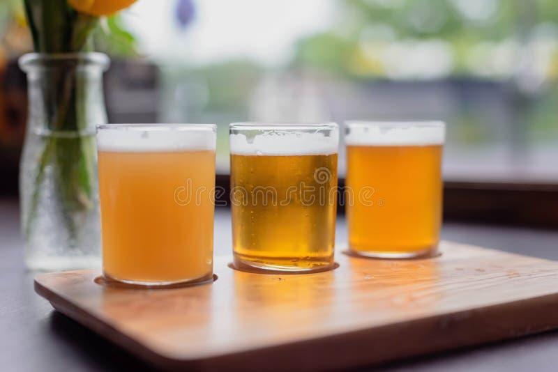 Koude die glazen bier voor het proeven worden opgesteld stock afbeeldingen