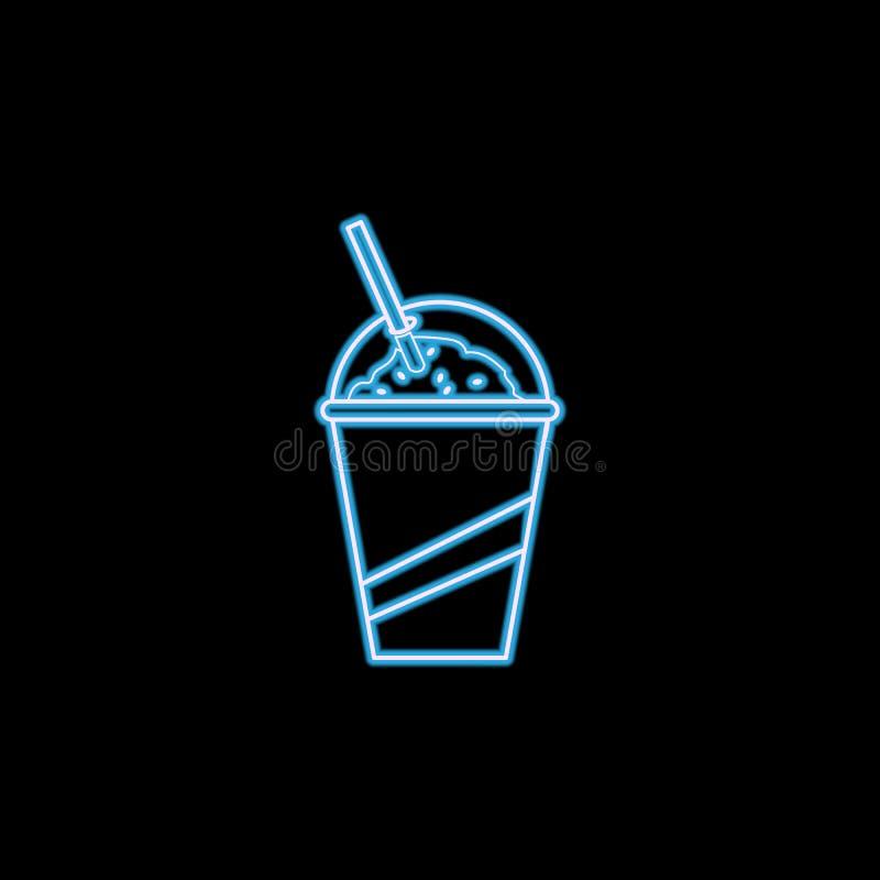 koude drank in een glaspictogram in neonstijl Één van het pictogram van de Snel voedselinzameling kan voor UI, UX worden gebruikt stock illustratie