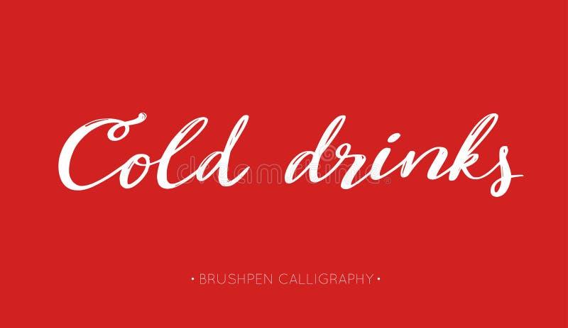 Koude dranken vector met de hand geschreven Kalligrafie voor de zomerdranken en dranken lettering vector illustratie