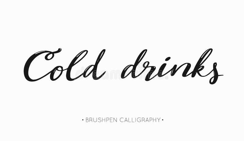 Koude dranken vector met de hand geschreven Kalligrafie voor de zomerdranken en dranken lettering stock illustratie