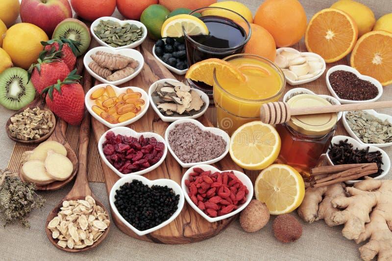 Koude en Griepremedievoedsel stock afbeelding
