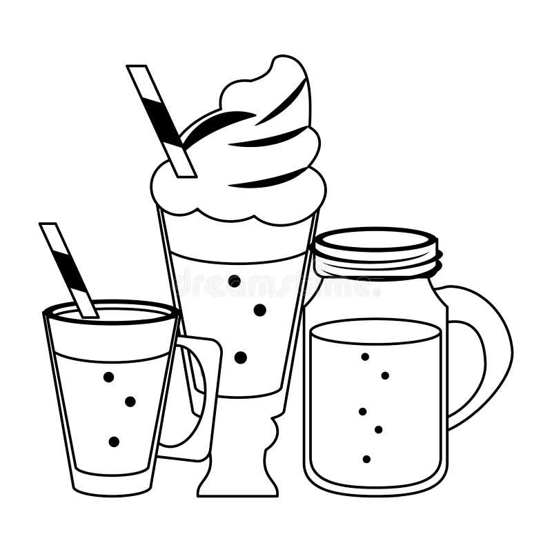 Koude en heerlijke dranken in zwart-wit royalty-vrije illustratie