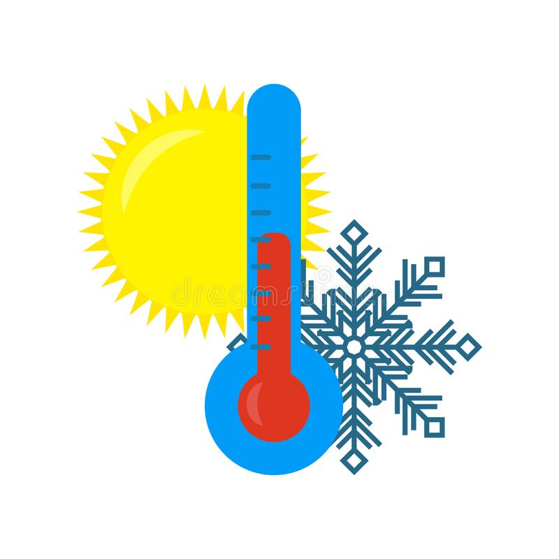 Koude en hete weerthermometer Pictogram vectorillustratie op witte achtergrond Vector royalty-vrije illustratie