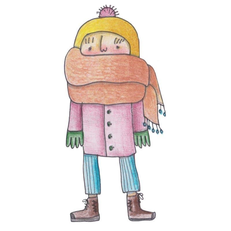 Koude illustratie van kinderen in de sjaal voor uw afdruk, sticker op een witte achtergrond royalty-vrije illustratie