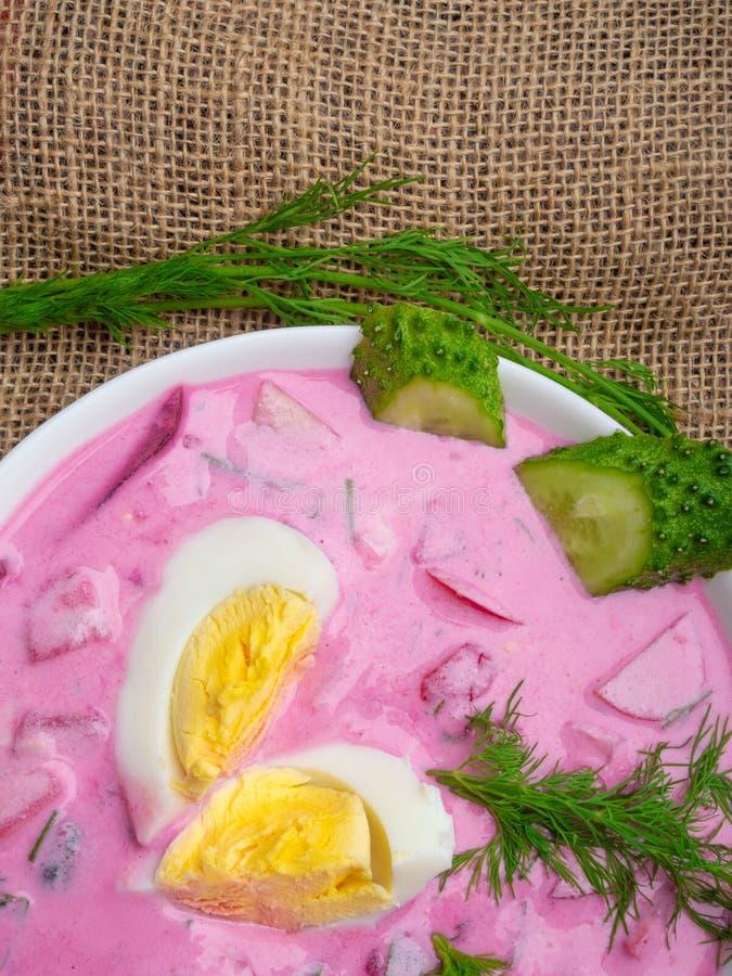 Koude jonge bietensoep De traditionele Oekra?ense Russische soep van de poetsmiddelbiet Koude borscht met komkommers en eieren wo royalty-vrije stock afbeeldingen