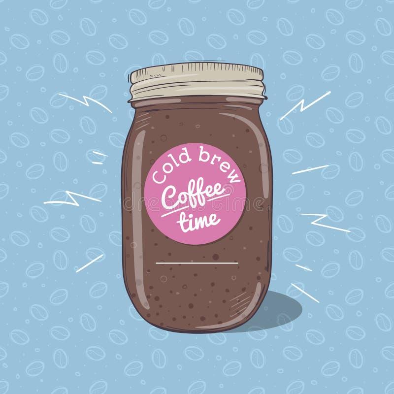 Koude koffie of chocolademilkshake in metselaarkruik met rond etiket Vector hand getrokken illustratie stock illustratie