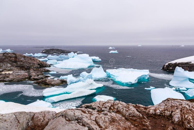 Koude nog wateren van antarctische overzeese lagune met afdrijvend blauw ijs stock foto