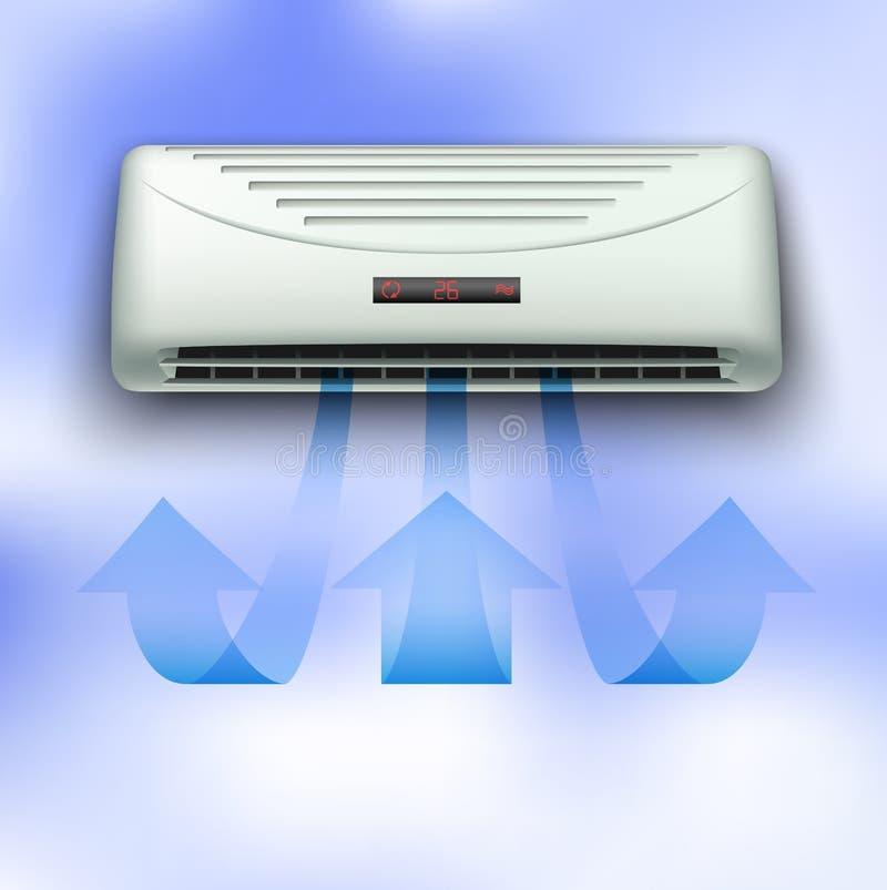 Koude stroom die uit airconditioner komen stock illustratie