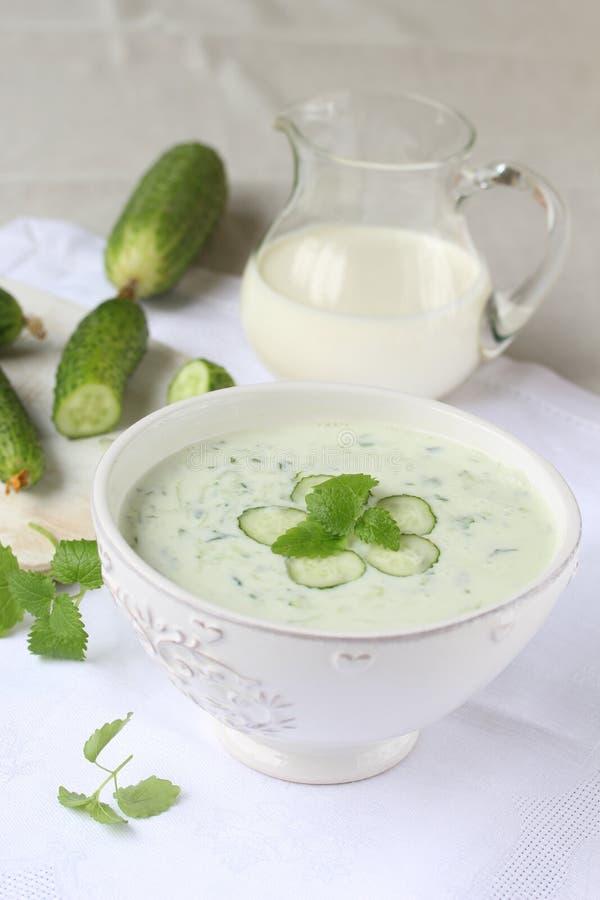Koude yoghurtsoep met komkommer en munt royalty-vrije stock fotografie