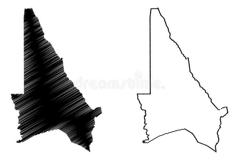 Kouffo-Abteilungs-Abteilungen von Benin, Republik Benin, Dahomey Karten-Vektorillustration, Gekritzelskizze Kouffo-Karte vektor abbildung