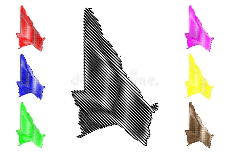Kouffo-Abteilungs-Abteilungen von Benin, Republik Benin, Dahomey Karten-Vektorillustration, Gekritzelskizze Kouffo-Karte lizenzfreie abbildung