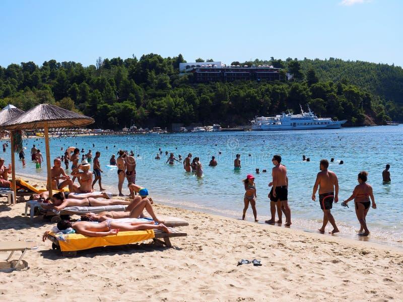 Koukounaries plaża, Skiathos Grecka wyspa, Grecja zdjęcie stock