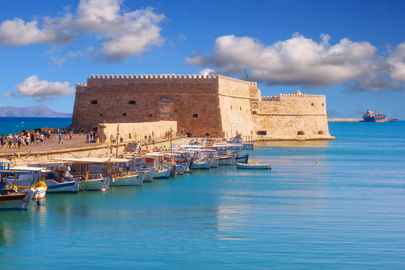 Koules堡垒伊拉克利翁威尼斯式城堡在伊拉克利翁市,克利特海岛 库存图片
