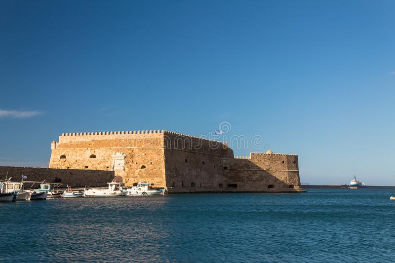 Koules venetian fort heraklion city greece old port clear sky sea. Koules venetian fort heraklion city greece old port clear sky and sea royalty free stock photos