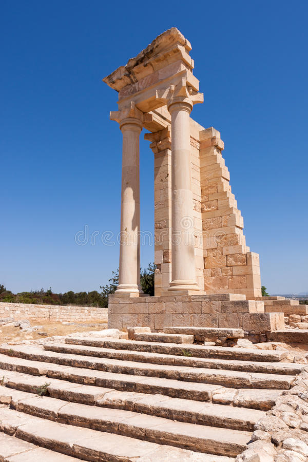 KOURION, CYPRUS/GREECE - 24 JUILLET : Temple d'Apollo près de Kourion images libres de droits
