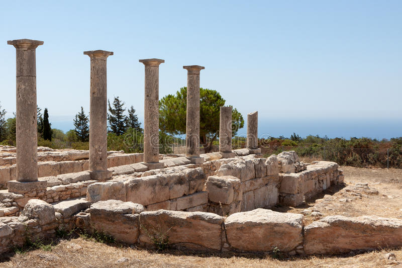 KOURION, CYPRUS/GREECE - 24. JULI: Tempel von Apollo nahe Kourion lizenzfreie stockbilder