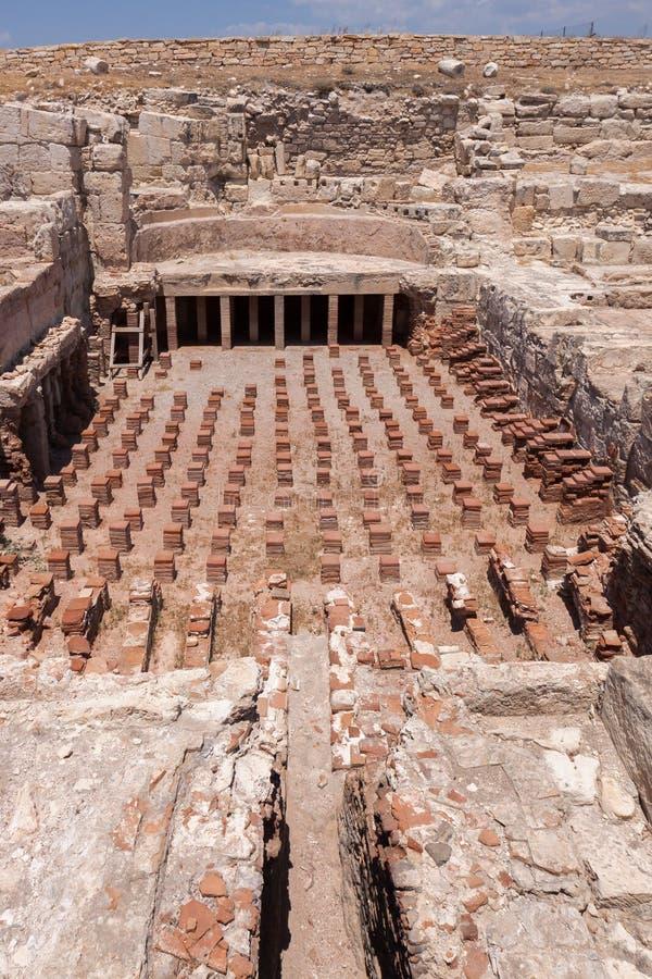 KOURION, CYPRUS/GREECE - 24 LUGLIO: Resti alla città antica o fotografia stock libera da diritti