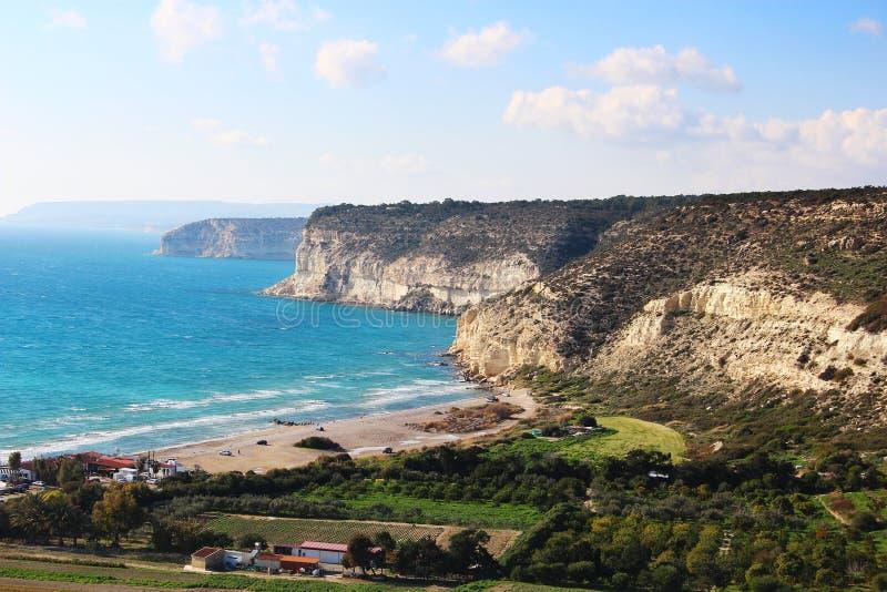 Kourion kust, Cypern royaltyfria bilder