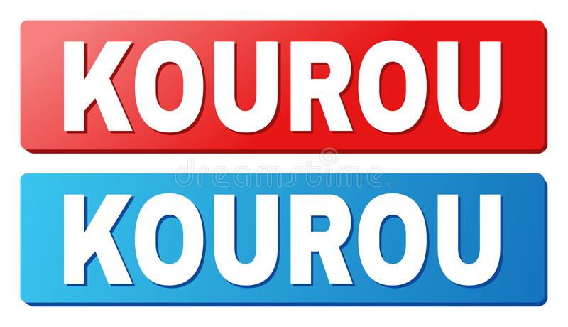 KOUROU Caption on Blue and Red Rectangle Buttons. KOUROU text on rounded rectangle buttons. Designed with white caption with shadow and blue and red button vector illustration