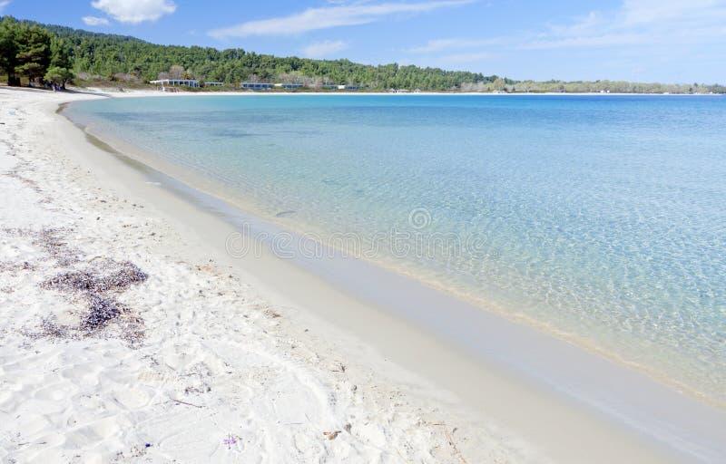 Halkidiki summer resort in Greece. Koursaros beach and summer resort at Kassandra of Halkidiki peninsula in Greece stock photo