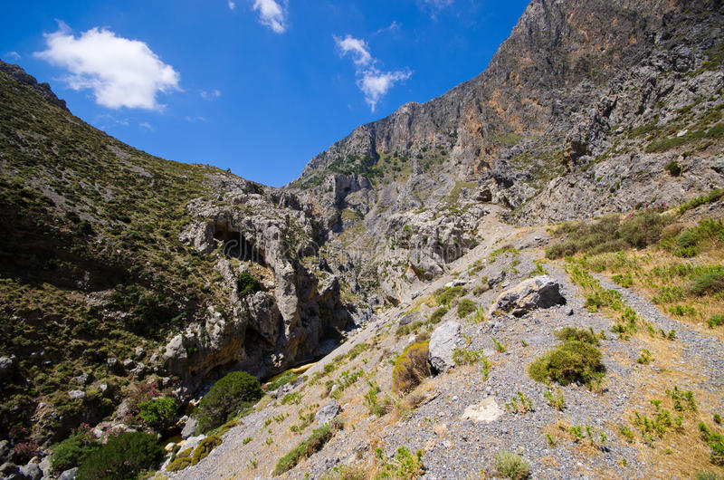 Kourtaliotiko gorge on Crete island, Greece royalty free stock photo