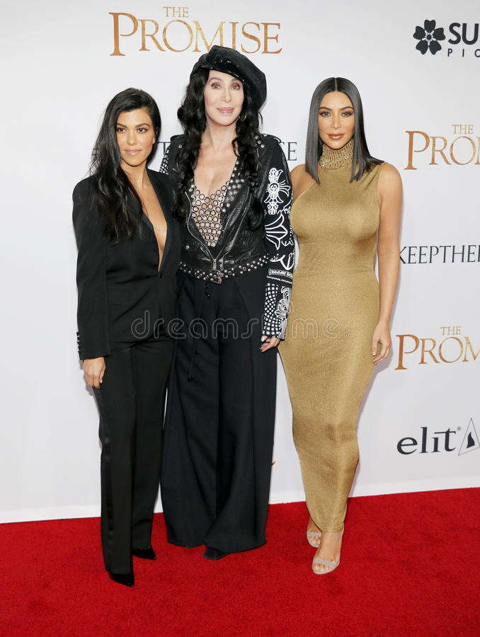 Kourtney Kardashian, Kim Kardashian West et Cher images libres de droits