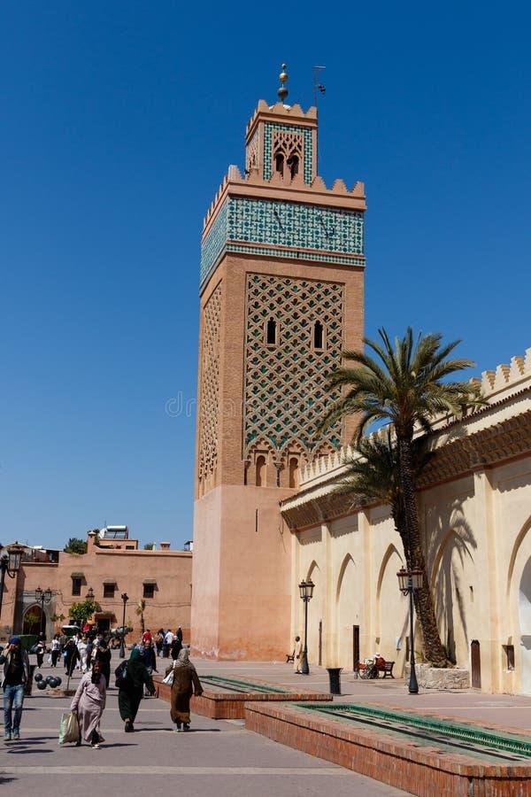 Koutoubia moské - den största moskén i Marrakech, Marocko, Afrika arkivbild