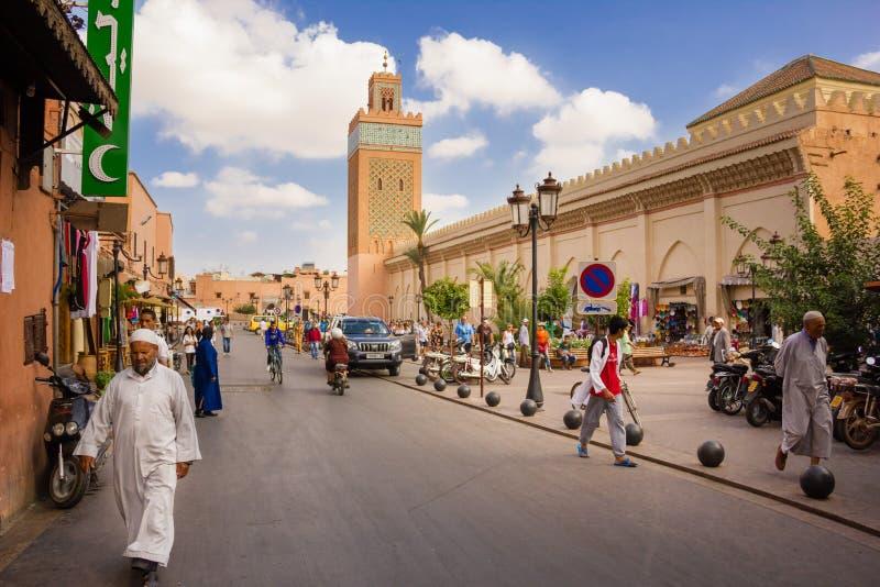 Koutoubia moské Marrakech morocco arkivfoto