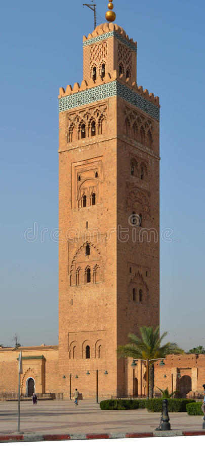 Koutoubia Mosque. The Koutoubia Mosque Koutoubia or Kutubiya is one of the most representative monuments of the city of Marrakech (Morocco). Its minaret is the royalty free stock photo