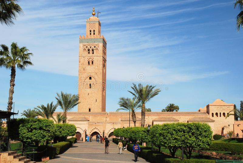 Marrakesh - Koutoubia Mosque largest mosque - Morocco. Marrakesh or Marrakech Kotoubia Mosque largest mosque located in medina quarter with minaret with spire royalty free stock images