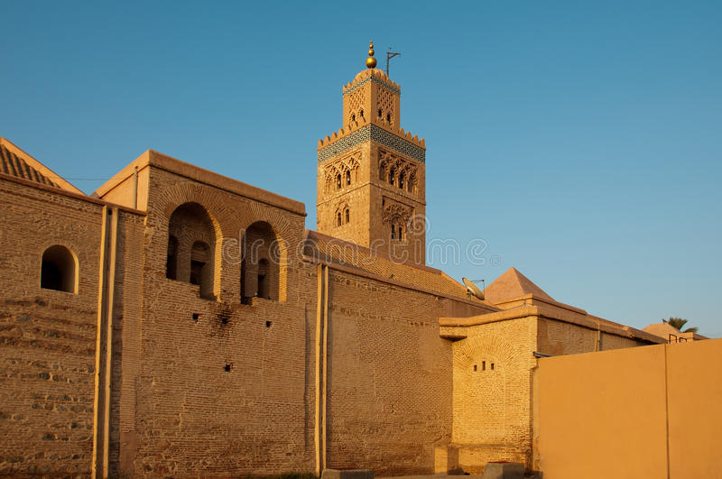 Koutoubia mosque in Marrakech, Morocco. Located near the Djemaa el Fna, the Koutoubia Mosque is the largest mosque in Marrakesh. It is famed especially for its stock photos