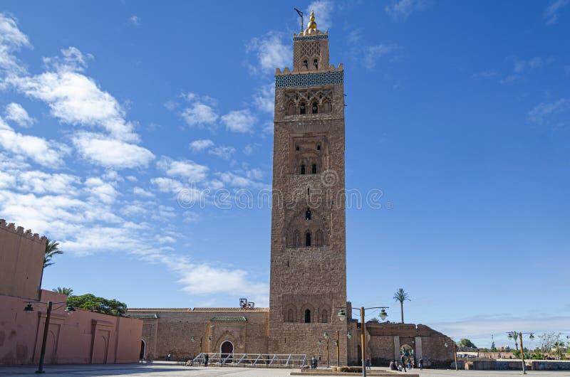 Koutoubiamoskee in de stad van Marrakech marokko stock foto's