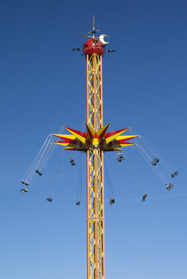 Kouvola, Finland 1 July 2015 - Ride Star Flyer in motion in amusement park Tykkimaki stock images