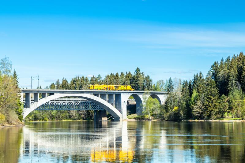 Kouvola, Finland - May 16, 2019: Spring landscape of bridge and Kymijoki river waters in Finland, Kymenlaakso, Kouvola, Koria.  stock image